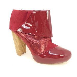 Matt Bernson Triad Red Patent Leather Heeled Boots